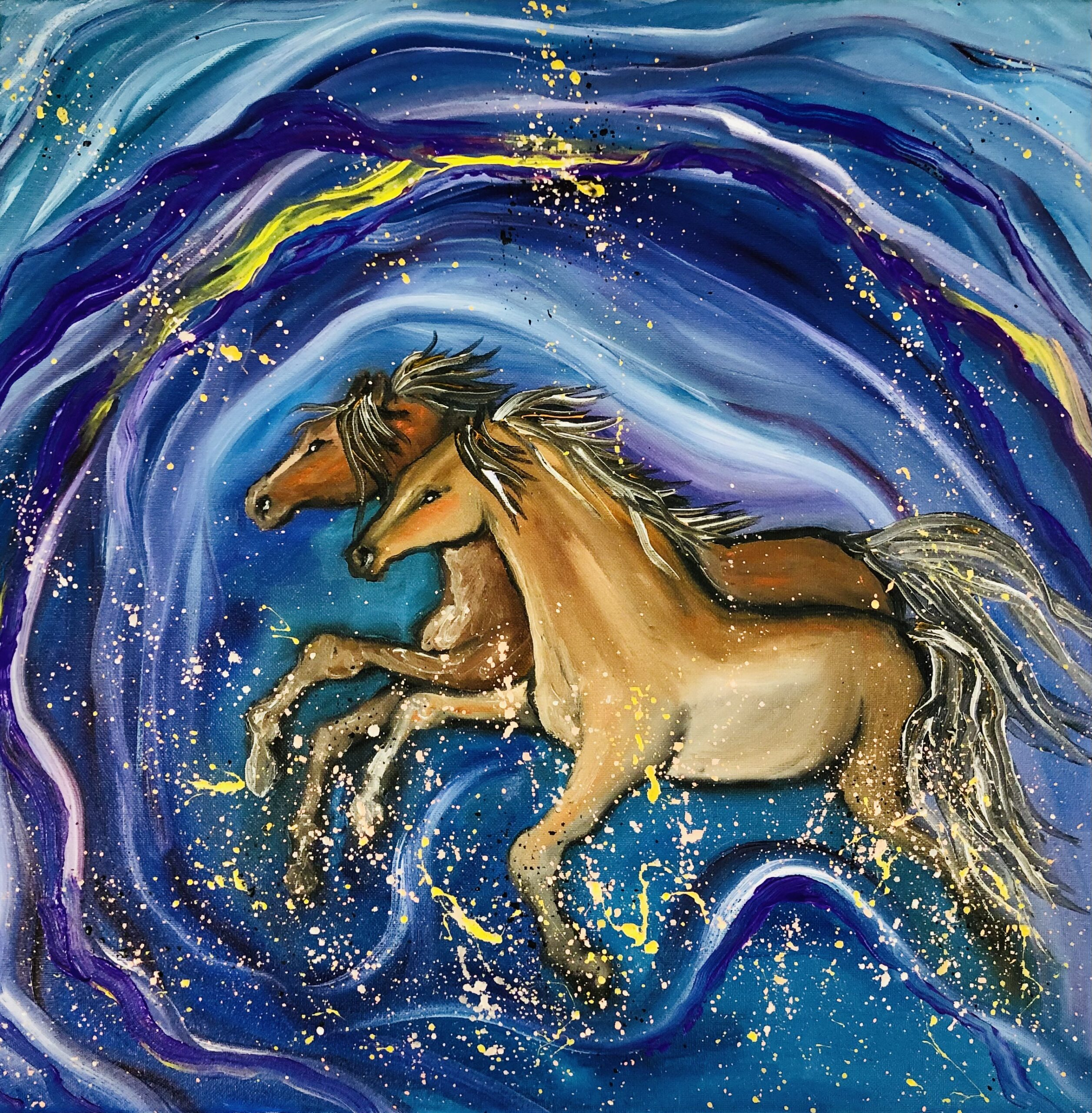 Blue horses!